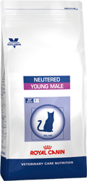 Illustration Croquettes Royal Canin Vet Care Nutrition Neutered Cat Young Male sac 10 kg pour chat