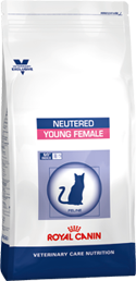 Illustration Croquettes Royal Canin Vet Care Nutrition Neutered Cat Young Female sac 400 g pour chatte
