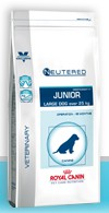 Illustration Croquettes Royal Canin Vet Care Nutrition Neutered Junior Large Dog sac1 kg pour chiot