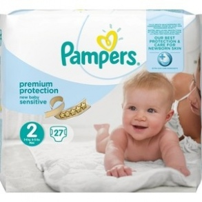 Pampers - Premium Protection New Baby Sensitive couches taille 2 (3 à 6 kg) - paquet de 27 couches