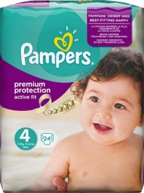 Pampers - Couches Active Fit  taille 4 (8 à 16 kg) - paquet 24 couches