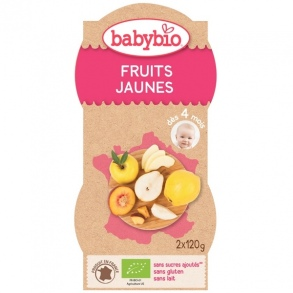 Illustration Fruits jaunes bio - 2 bols de 120 g