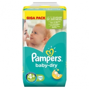 Pampers - Couches Baby Dry taille 4+ (9 à 18 kg) paquet de 112 couches