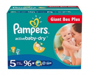 Pampers - Couches Active Baby Dry taille 5 (11 à 18 kg) paquet de 96 couches